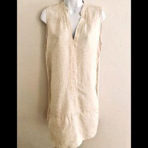 Just Living Linen Dress - M tan , linen /rayon